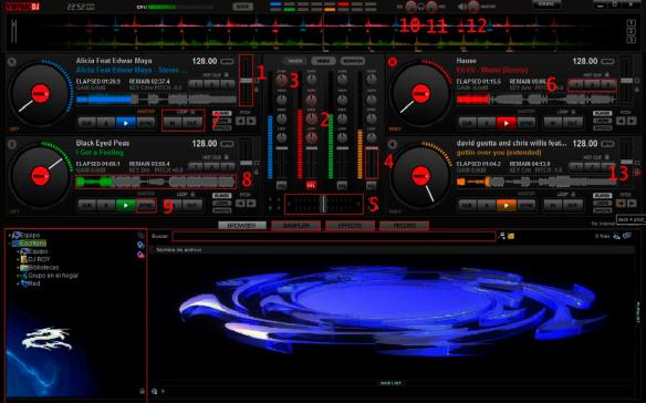 Virtual DJ 7 4 decks oscuro numeros